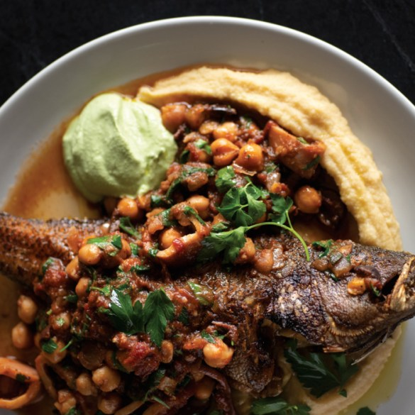 Drifters Wife - Black bass with chickpeas, squid, and yogurt