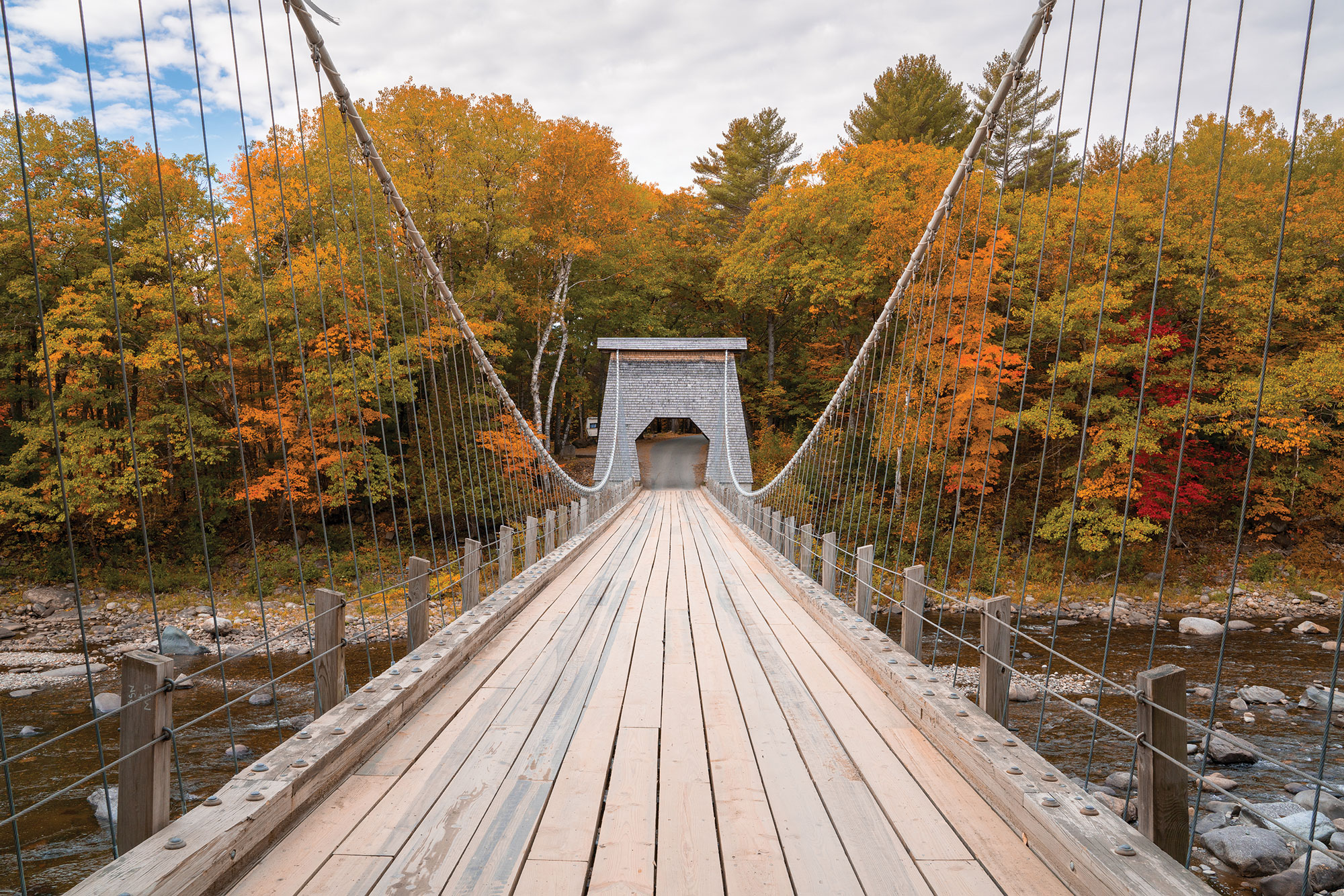the historic wire bridge over the Carrabassett River, off Route 27 in New Portland