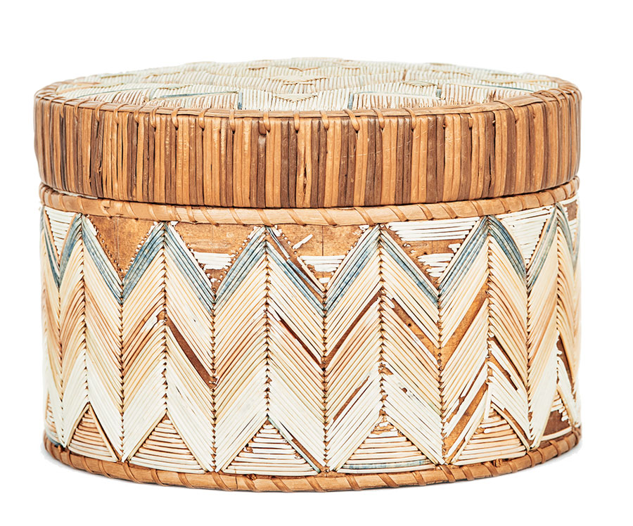 round box with classic chevron pattern; Micmac quillwork