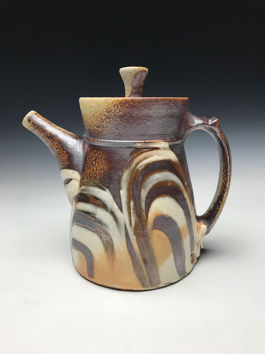 Adrian King, Teapot, soda-fired stoneware with various slips