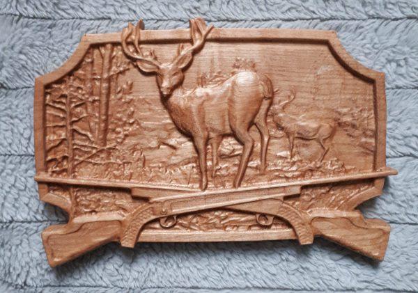 wood deer and guns 3d carving