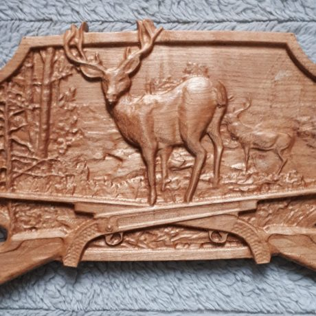 wood deer and guns 3d carving