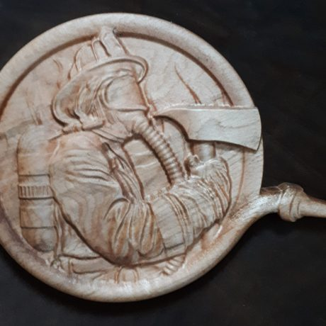 wood firefighter carving