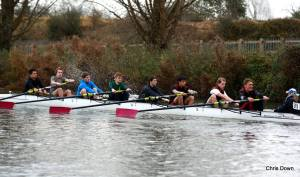 Mixed senior-novice crews racing in the Winter Head.