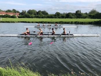 Downing 4+ lining up against Magdalane at the Small Boats Regatta, 2021