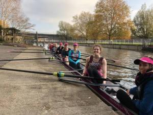 A Women's Senior-Novice Composite about to race in Cambridge Winter Head, 2018