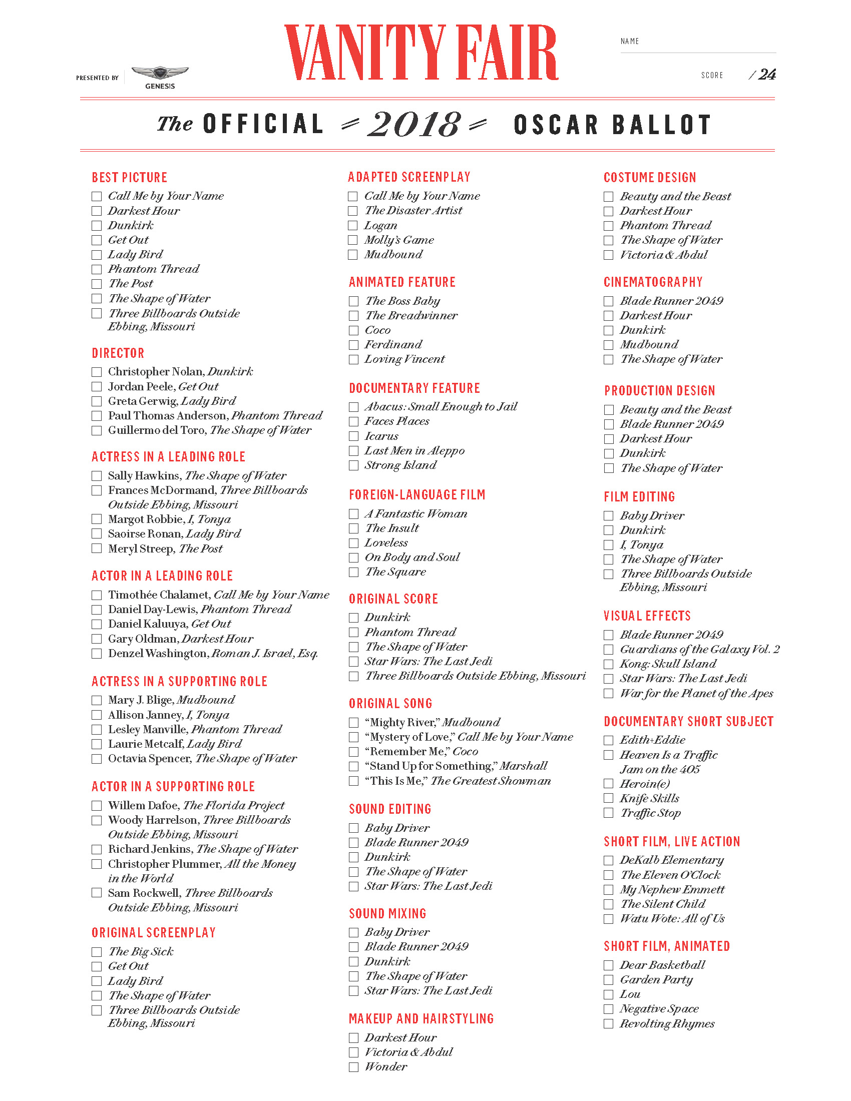 photo about Oscar Printable Ballots titled Oscar Ballot Downing Motion picture Heart