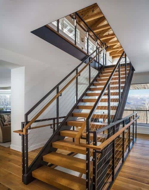 Here S What No One Tells You About Open Stairs Down Leah S Lane   Metal And Wood Stairs   Straight   Diy   Residential   Rustic   Stair Railing