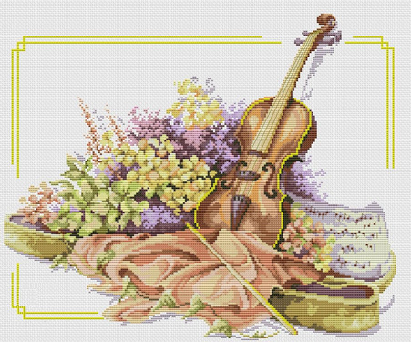 Cross-stitch pattern FREE download as PDF file with violin and flowers