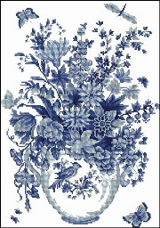 Cross-Stitch pattern FREE download as pdf file with blue flowers