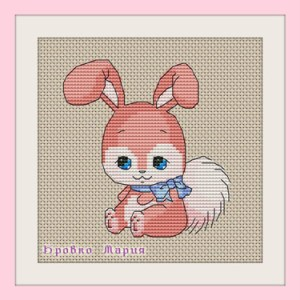 Cross-stitch pattern FREE download as PDF file with little rabbit