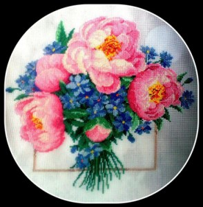 Cross stitch pattern free download as pdf file with peonies bouquet