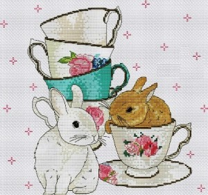 Cross stitch pattern FREE download as PDF file with rabbits and cups
