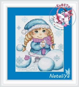 Cross stitch pattern FREE download in PDF file with little girl at Christmas