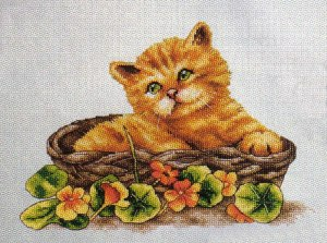 Cross stitch pattern FREE download in PDF file with kitty in