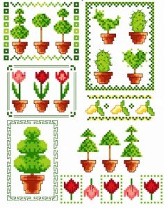 Cross stitch pattern FREE download in PDF file with garden model