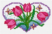 Cross stitch pattern FREE download as PDF file with flowers red tulips