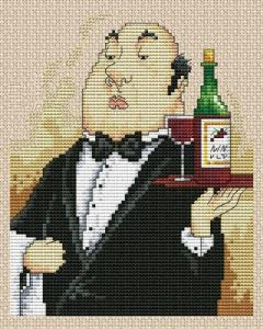 Cross stitch pattern FREE download as PDF file with waiter and wine