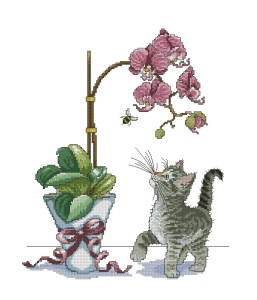 Cross stitch pattern FREE download as PDF file with little cat and orchid