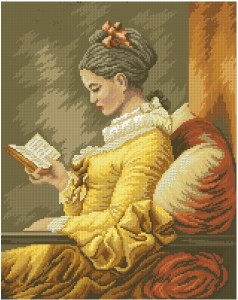 Cross stitch pattern in PDF file with painting Young girl reading