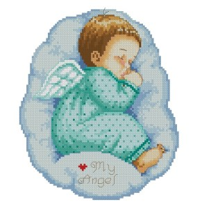 Download cross stitch pattern in PDF file with baby angel sleeping