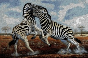 Cross stitch pattern download in PDF file with African zebras