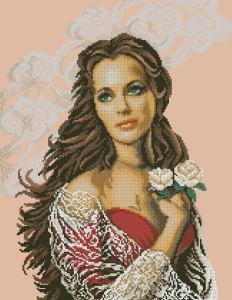 Cross stitch pattern to download in PDF file with beautiful woman