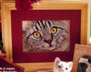 Cross stitch pattern FREE download in PDF file with cat face