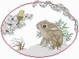 Cross stitch pattern FREE download in PDF file with rabbit and bird