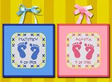 Cross stitch pattern FREE download in PDF file with baby birth sampler