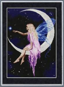 Cross stitch patterns FREE download in PDF file with fairy in the moon