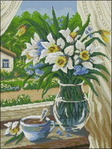 Cross stitch pattern FREE download in PDF file with vase of flowers