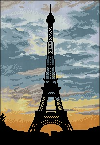 Cross stitch pattern FREE download in PDF file with tour Eiffel of Paris