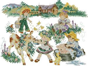 Cross stitch pattern FREE download in PDF file with children on the farm