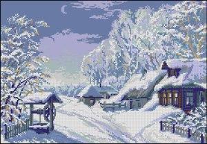 Cross stitch pattern FREE download in PDF file with snowy landscape