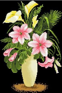 Cross stitch pattern with FREE download instantly in PDF file, to embroider a vase of flowers