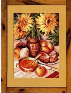 Cross stitch pattern with FREE download instantly in PDF file, to embroider a still life with sunflowers