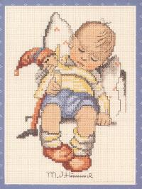 Cross stitch pattern with FREE download instantly in PDF file, to embroider sleeping child