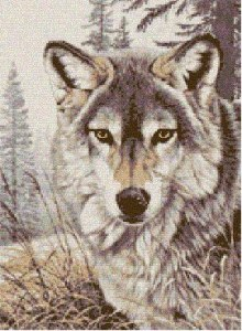 Cross stitch pattern with FREE download instantly in PDF file, to embroider a wolf