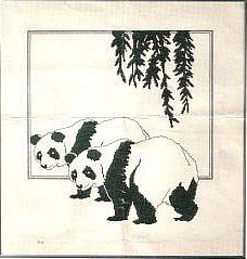 Cross stitch pattern with FREE download instantly in PDF file, to embroider two panda bears