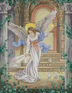 Cross stitch pattern with FREE download instantly in PDF file, to embroider a beautiful angel