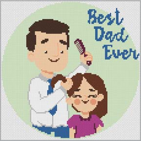 Cross stitch pattern with FREE download instantly in PDF file, to embroider the best dad ever
