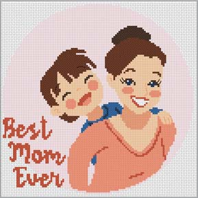Cross stitch pattern with FREE download instantly in PDF file, to embroider the BEST MOM ever