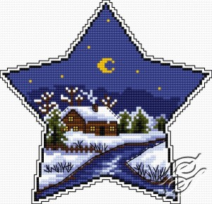 Cross stitch pattern with FREE download instantly in PDF file, to embroider a winter star