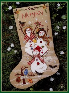 Cross Stitch Pattern FREE download instantly in PDF file, to embroider some snowmen stocking