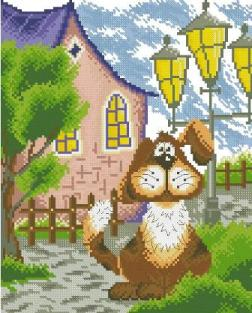 Cross Stitch Pattern FREE download instantly in PDF file, to embroider a guard dog