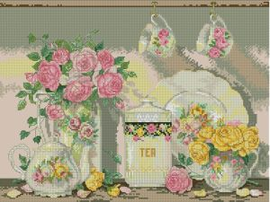 "Cross stitch pattern for download in PDF file and embroider drawing based on the Sandy Lynam Clough illustration "" Victorian tea """
