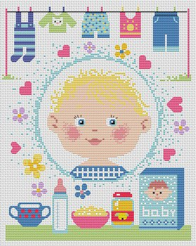 Cross stitch pattern FREE download instantly in a PDF file, to embroider a baby sampler