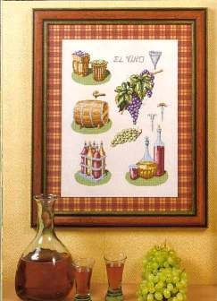 Cross stitch pattern FREE download instantly in a PDF file with grapes and wine