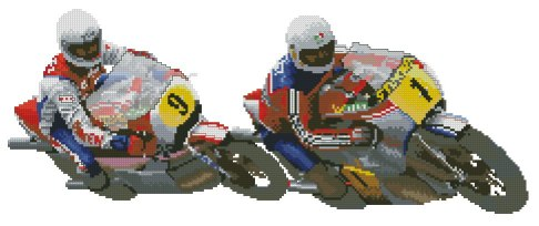 Cross stitch pattern FREE download instantly in a PDF file, to embroider motobike rider